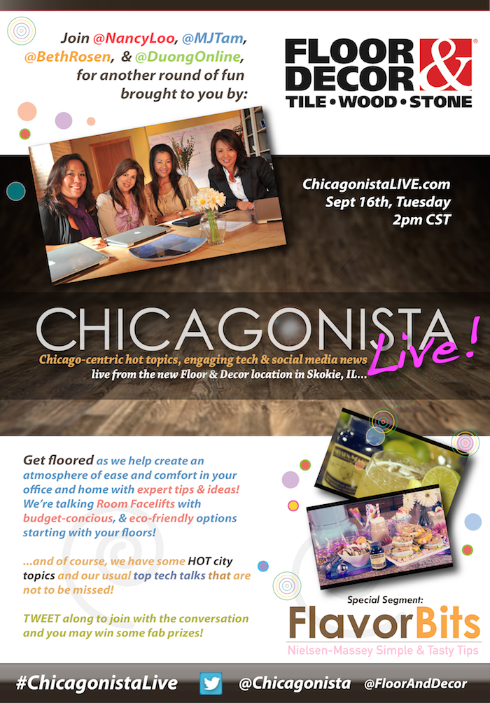 Watch Chicagonista Live At Floor And Decor On 9 16 14 At 2 Pm Cst A Savings Wow